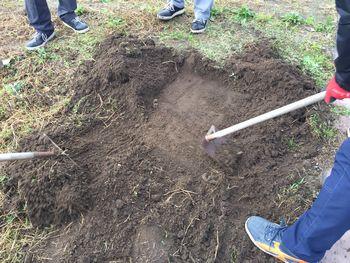 施工予定地で根と一緒に土を掘る